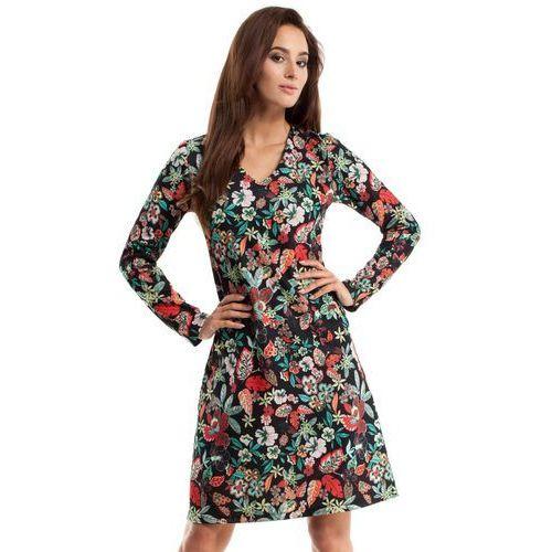 257 sukienka trapezowa - kwiatowy marki Moe