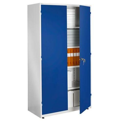 Ekstra pojemna biała szafa biurowa z niebieskimi drzwiami 635x1020x1900mm