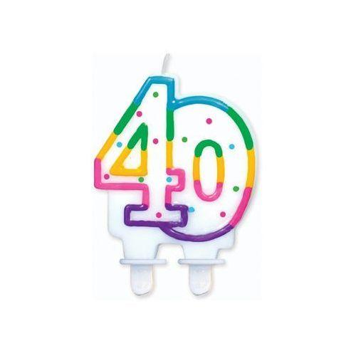 ŚWIECZKA URODZINOWA LICZBA 40 W KROPECZKI 1szt, #A861^c
