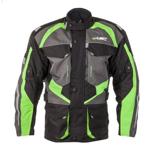 Męska kurtka motocyklowa wodoodporna W-TEC Burdys GS-1613, Czarno-szaro-zielony, L, 1 rozmiar