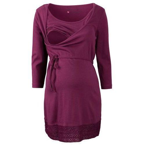 Tunika ciążowa i do karmienia piersią, rękawy 3/4 bonprix jeżynowy, kolor fioletowy