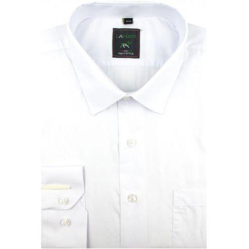 Laviino Koszula męska gładka biała na długi rękaw w kroju regular a173