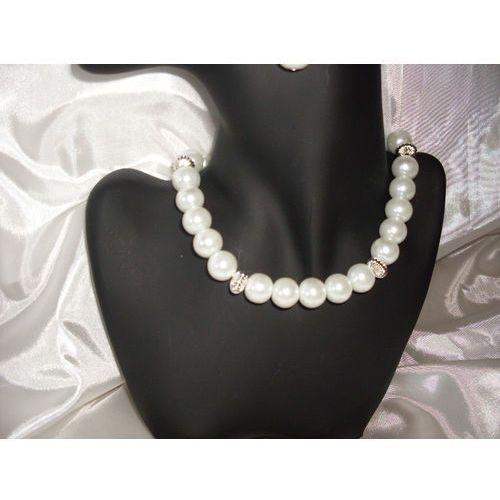 N-00007 Naszyjnik z perełek szklanych, białych, 13-03-11