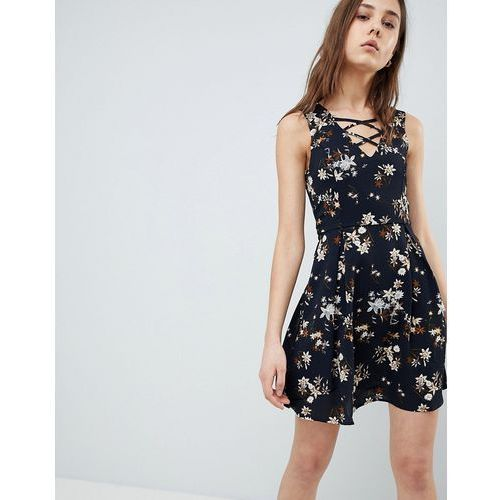 floral skater dress with lace up detail - navy, Qed london