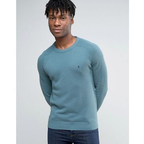 Original penguin  crew jumper honeycomb texture knit in blue - blue