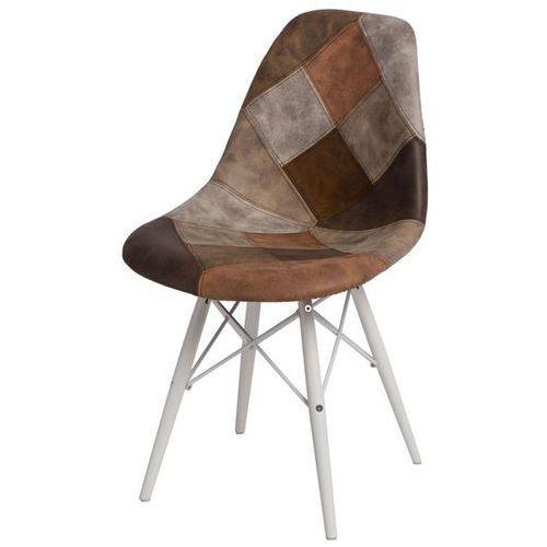 Krzesło P016W białe drewniane nogi (patchwork) D2, kolor brązowy
