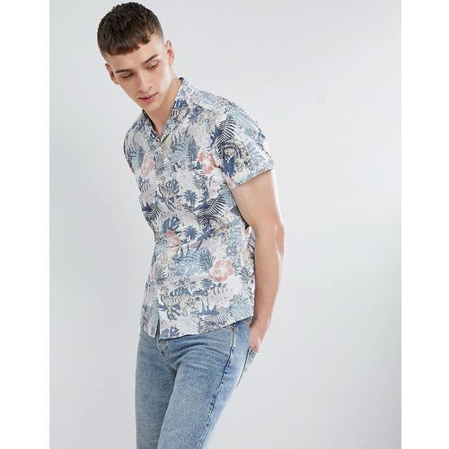 Esprit slim fit shirt with revere collar in reverse jungle print - white