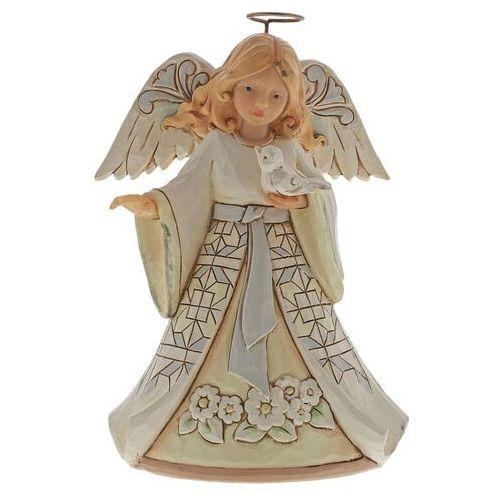 Jim shore Biały anioł z ptaszkiem white woodland angel with bluebird pint-sized figurine 6004764 figurka ozdoba świąteczna