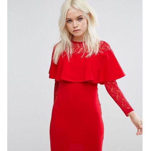 Asos petite ruffle front lace mix bodycon mini dress - red