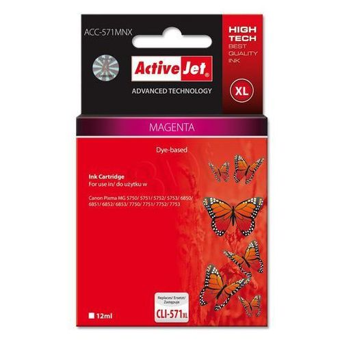 Activejet tusz ACC-571MNX / CLI-571M XL (magenta) Szybka dostawa! Darmowy odbiór w 20 miastach!, kolor Magenta