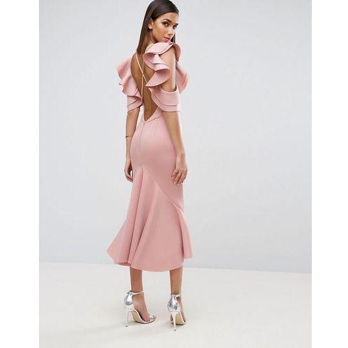 ASOS PREMIUM Scuba Extreme Pephem Midi Dress - Pink