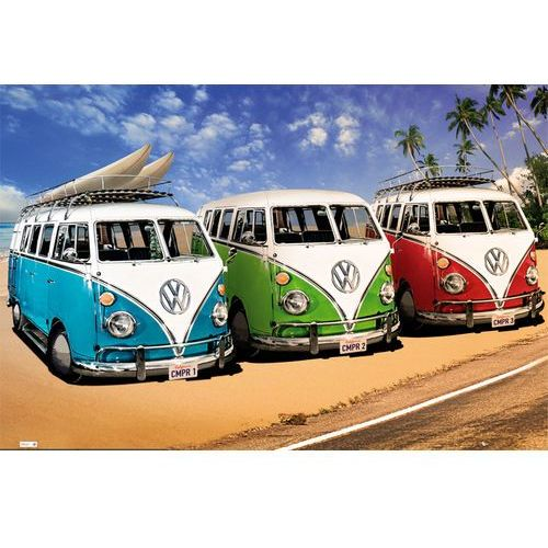 Gb Volkswagen californian camper - kampery na plaży - plakat, kategoria: plakaty