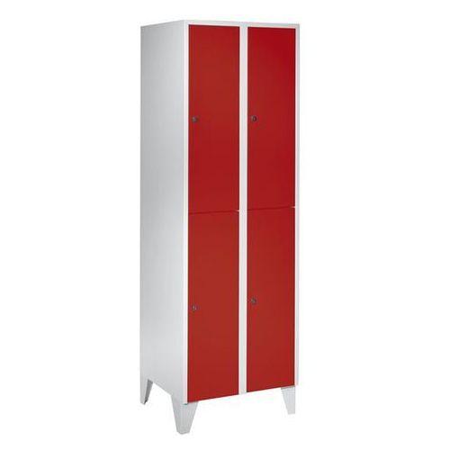 Szafa szatniowa z nogami, wys. x szer. x głęb. 1850x600x500 mm, 4 półki, czerwon