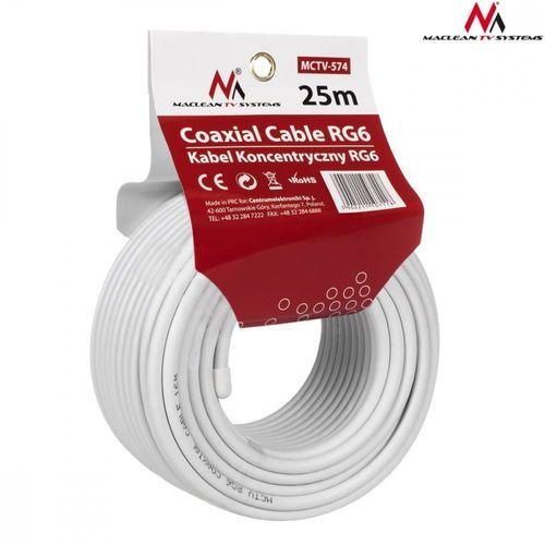 kabel koncentryczny maclean mctv-574 satelitarny, antenowy 1.0ccs rg6 25m marki Maclean