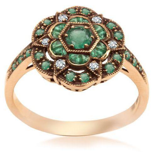 Kolekcja Wiktoriańska - pierścionek z diamentami i szmaragdami