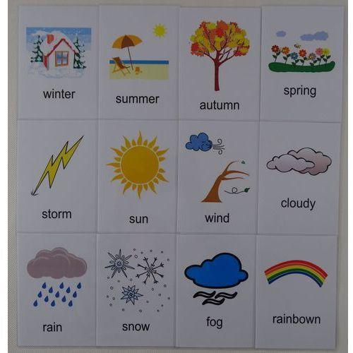 Bystra sowa Pogoda / pory roku karty edukacyjne wersja w j. angielskim