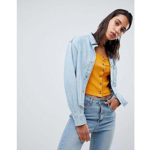 cropped denim overshirt in organic cotton - blue marki Weekday