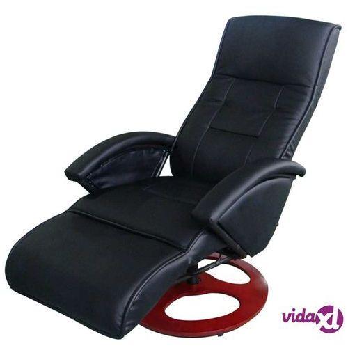 vidaXL Masujący fotel elektryczny ze sztucznej skóry, czarny, kolor czarny
