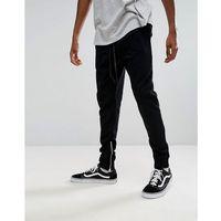 Mennace Joggers With Cuff Zips - Black, kolor czarny