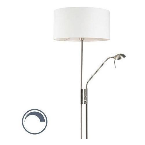 Qazqa Nowoczesna lampa podłogowa stal z regulowanym ramieniem do czytania klosz biały - luxor