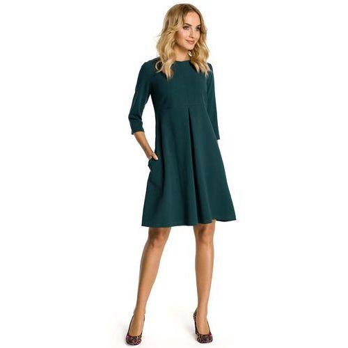 Zielona Sukienka Trapezowa z Kontrafałdą, trapezowa