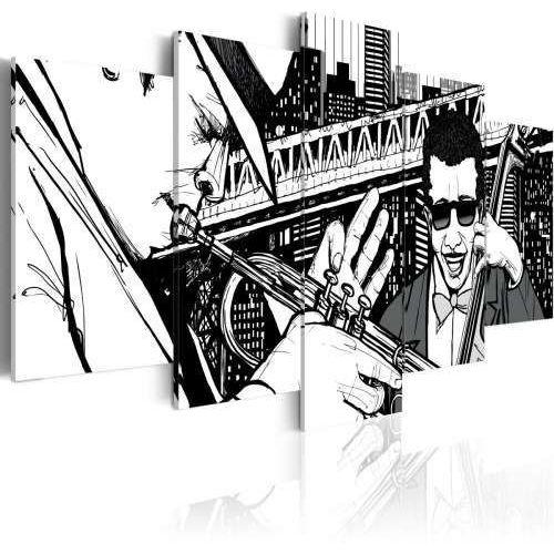 Obraz - Koncert jazzowy na tle nowojorskich wieżowców - 5 częsci, kup u jednego z partnerów