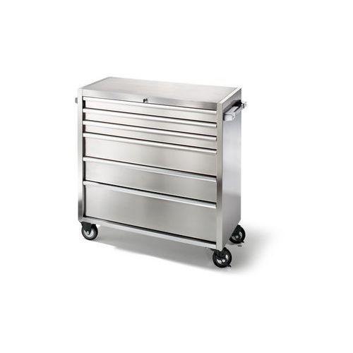 Seco Wózek szufladowy ze stali szlachetnej, na rolkach,6 szuflad z pojedynczą blokadą