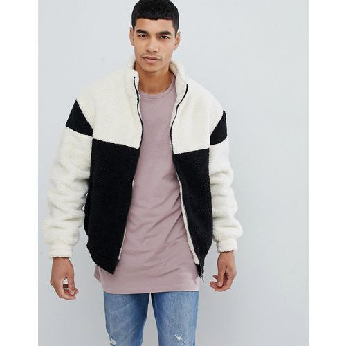 colourblock jacket with funnel neck in black - black, New look