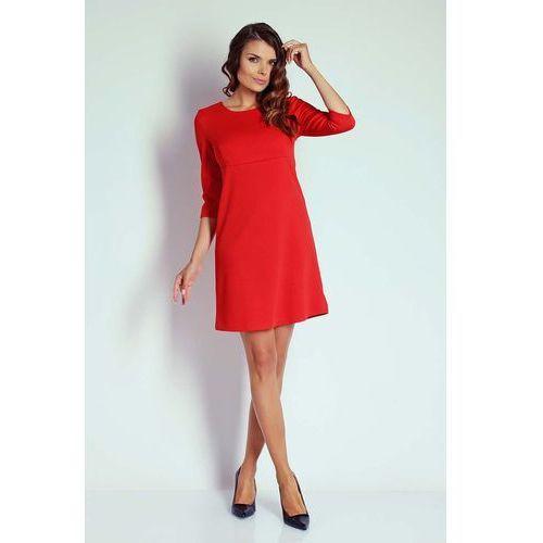 Czerwona trapezowa sukienka koktajlowa z rękawem 3/4 marki Nommo