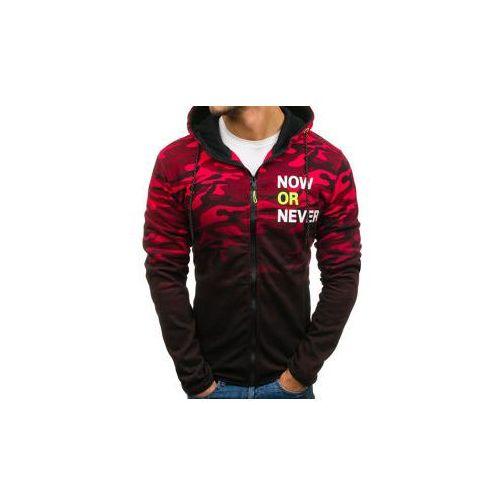 Bluza męska z kapturem rozpinana moro-czerwona denley dd85, J.style