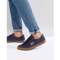 underspin heavy waxed canvas trainers in navy - navy marki Fred perry