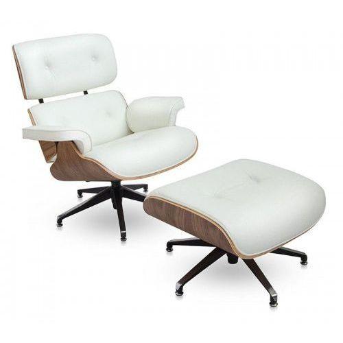 Fotel z Podnóżkiem Kopenhaga biała skóra/jasny orzech, kolor biały