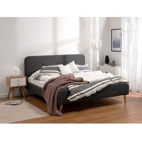 Beliani Łóżko szare - 160x200 cm - łóżko tapicerowane - rennes