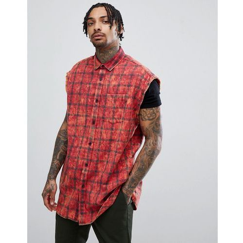 design overszied sleeveless tartan check shirt with acid wash - red, Asos, XS-XXL