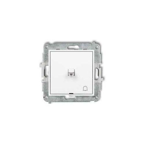Przycisk zwierny dźwigniowy dzwonek Karlik Mini MWPUS-4 podtynkowy biały