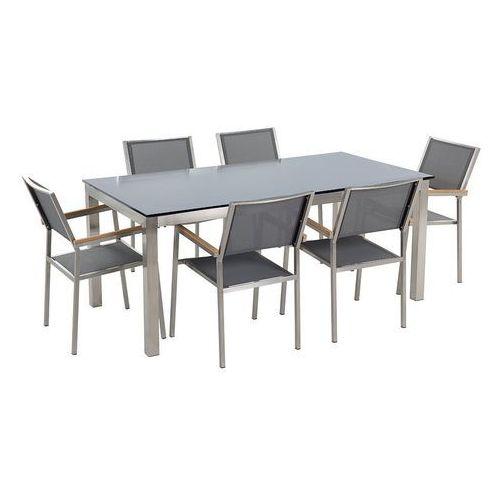 Beliani Stół szklany czarny - 180 cm - z 6 szarymi krzesłami - grosseto (7105276886815)