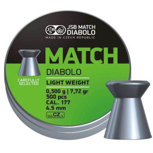 Śrut JSB Match Diabolo Light Weight 4.5mm 500szt (000005-500) - produkt z kategorii- Amunicja do wiatrówek