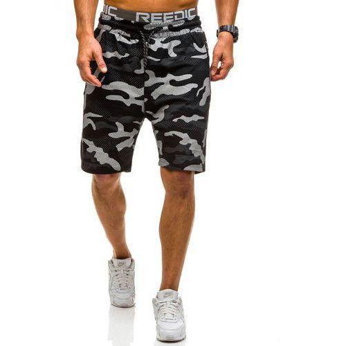 Krótkie spodenki dresowe męskie czarne Denley 4440, kolor czarny