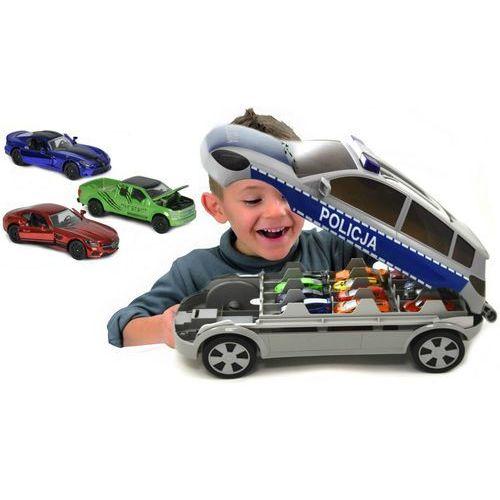 policja radiowóz walizka na resoraki + 3 samochodziki marki Majorette
