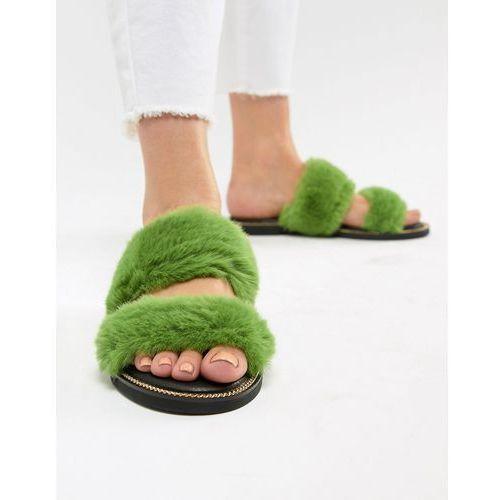 River island double strap faux fur sliders - green