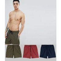 design swim shorts 3 pack in khaki/navy/burgundy mid length save - multi marki Asos