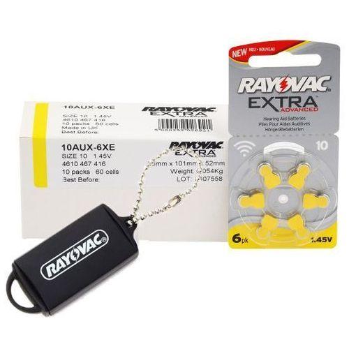 Rayovac 60 x baterie do aparatów słuchowych extra advanced 10 + zasobnik na baterie rayovac
