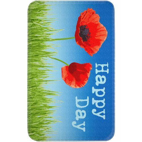 """Dywaniki łazienkowe """"Flora"""", pianka memory bonprix niebiesko-czerwony"""