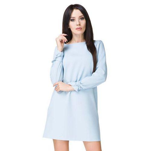 Błękitna sukienka wizytowa z wiązaniami, Tessita, 36-46