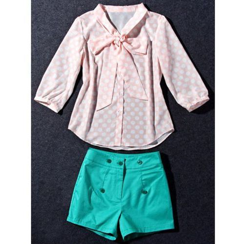 Cute Women's Bow Collar Polka Dot Print 3/4 Sleeve Blouse and Shorts Twinset