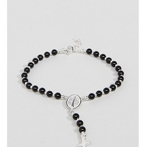 Reclaimed Vintage Inspired Sterling Silver Black Beaded Bracelet With Cross Charm Exclusive To ASOS - Silver, kolor szary