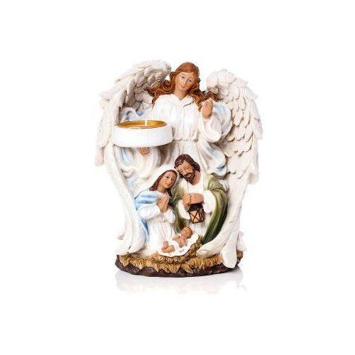 Świecznik Anioł ze Świętą Rodziną - Boże Narodzenie, 18 cm, JSUR93261