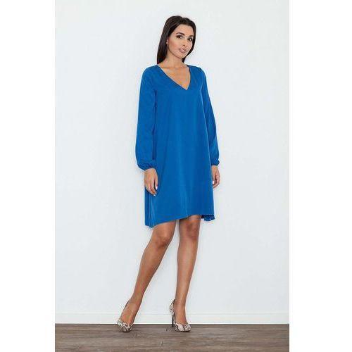 5180691cb7 Niebieska sukienka trapezowa z długim rę.