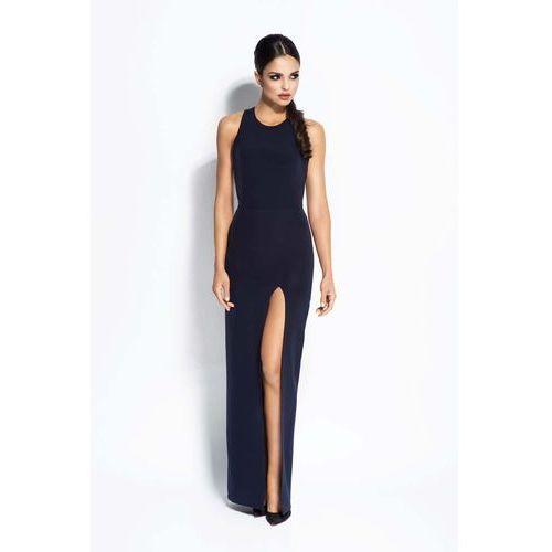 Granatowa sukienka elegancka maxi długim rozporkiem marki Dursi