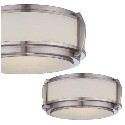 Plafon lampa sufitowa flush qz/wilkinson/f elstead quoizel okrągła oprawa szklana retro nikiel szczotkowany biała marki Quoizel